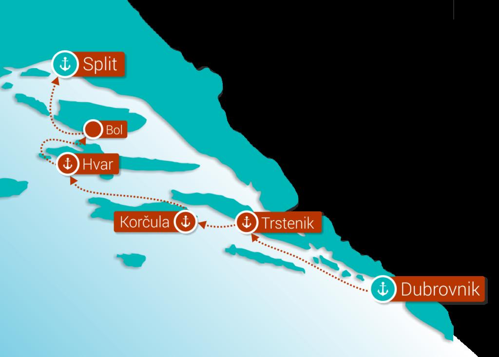 Mini crucero de lujo costa croata Dubrovnik Split